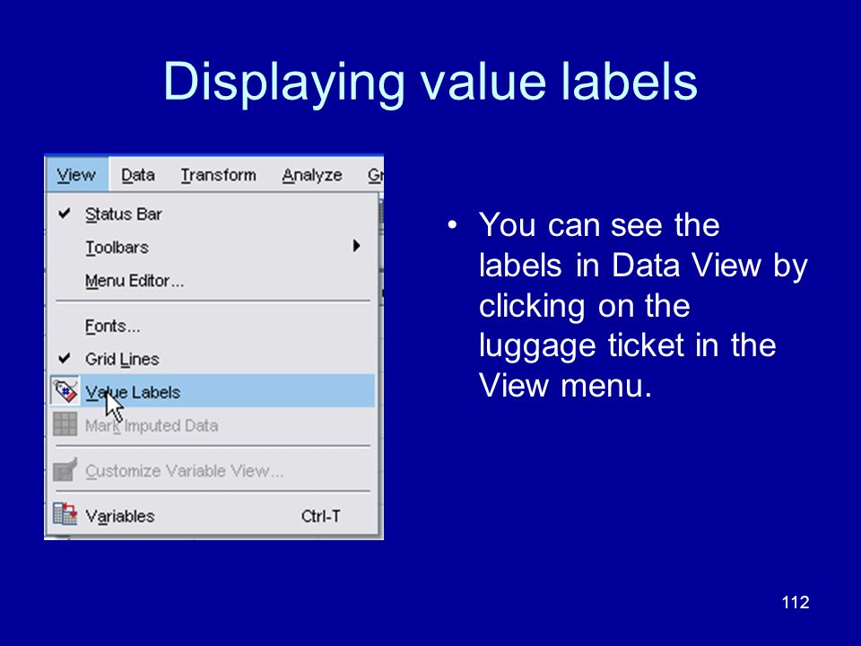 Displaying value labels