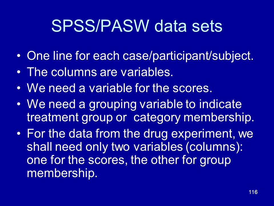 SPSS/PASW data sets One line for each case/participant/subject.