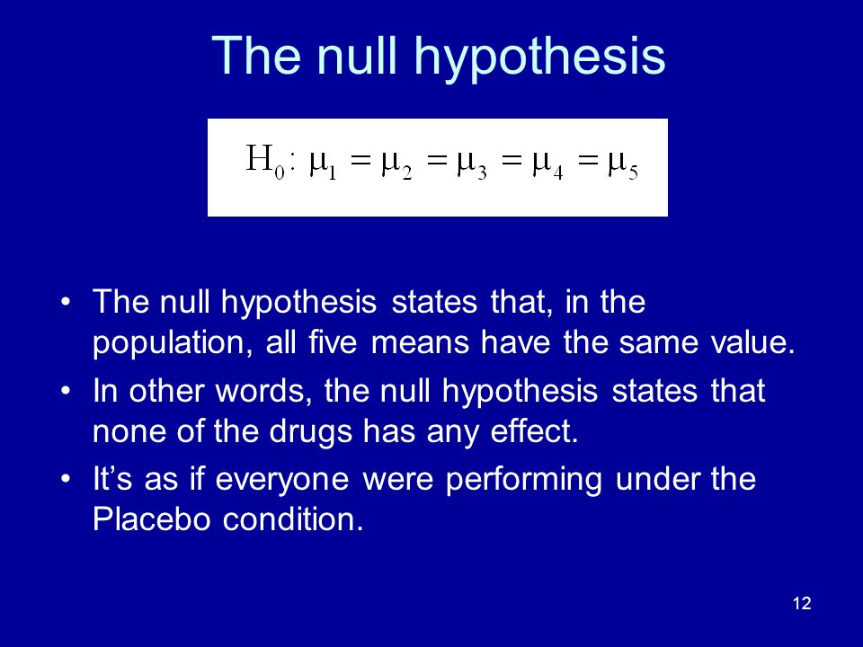 The null hypothesis The null hypothesis states that, in the population, all five means have the same value.