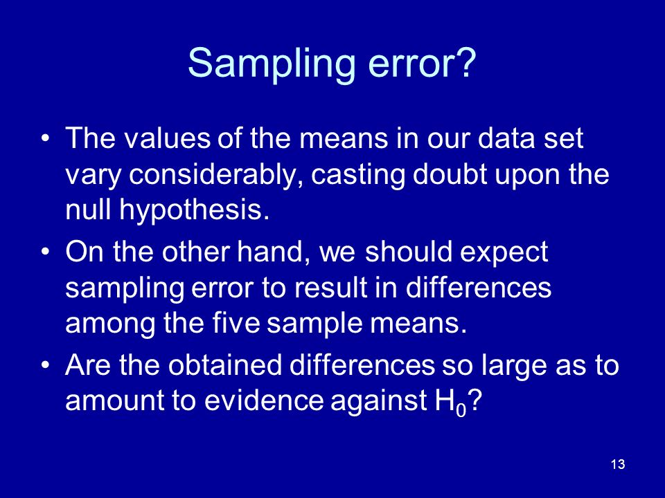 Sampling error The values of the means in our data set vary considerably, casting doubt upon the null hypothesis.