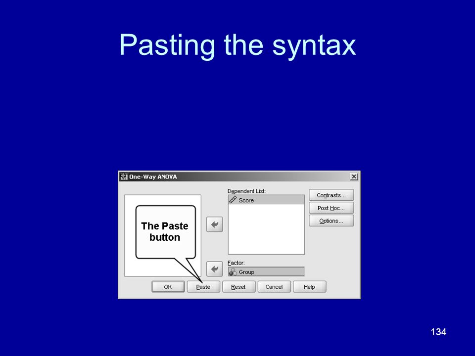 Pasting the syntax
