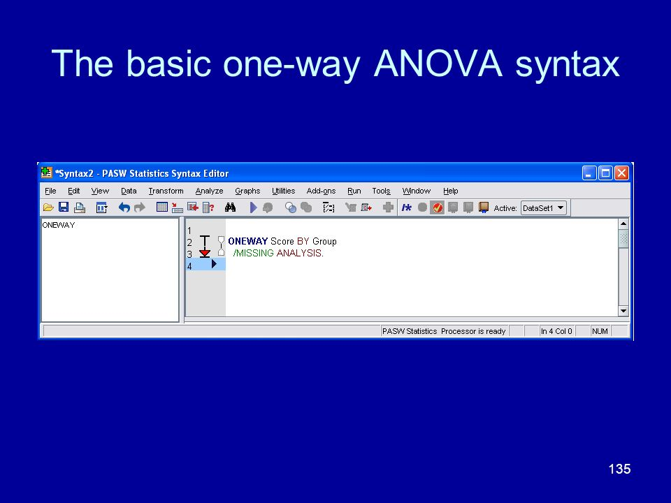 The basic one-way ANOVA syntax