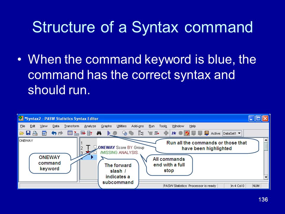 Structure of a Syntax command