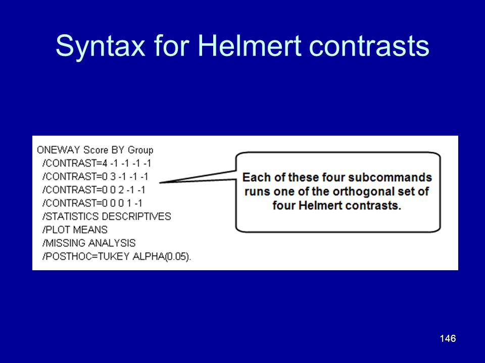 Syntax for Helmert contrasts
