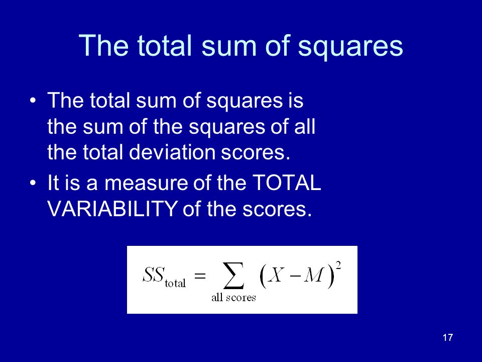 The total sum of squares