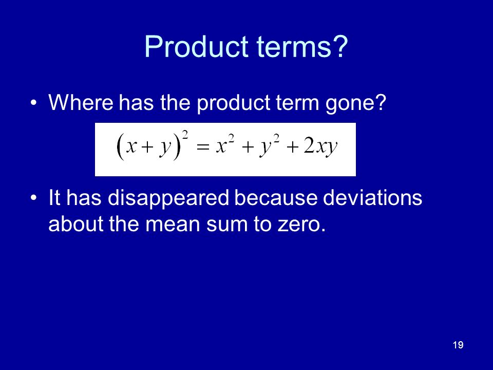 Product terms Where has the product term gone