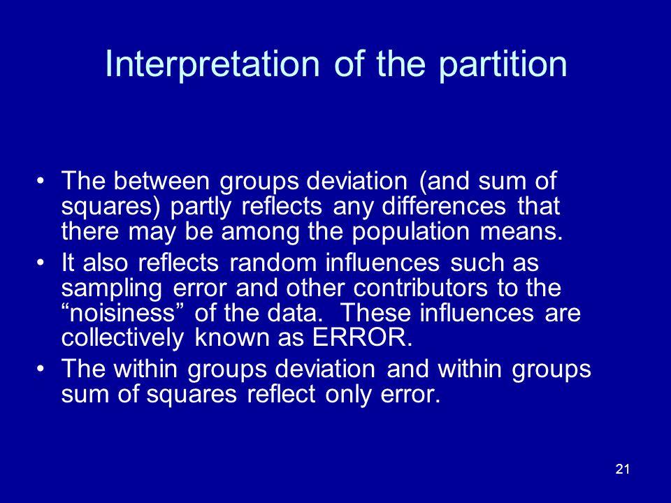 Interpretation of the partition