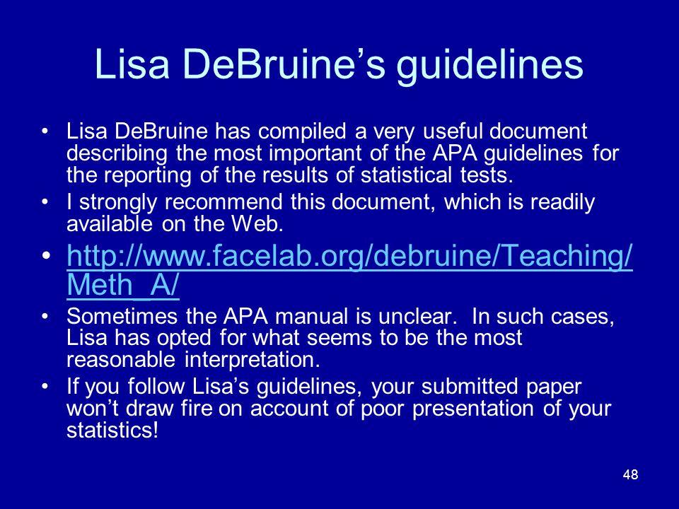 Lisa DeBruine's guidelines