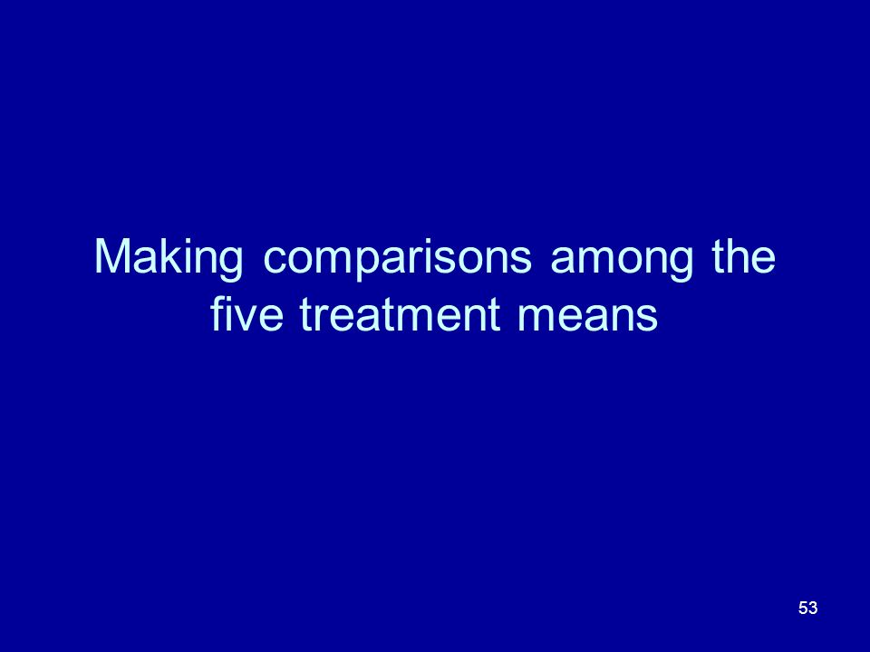 Making comparisons among the five treatment means