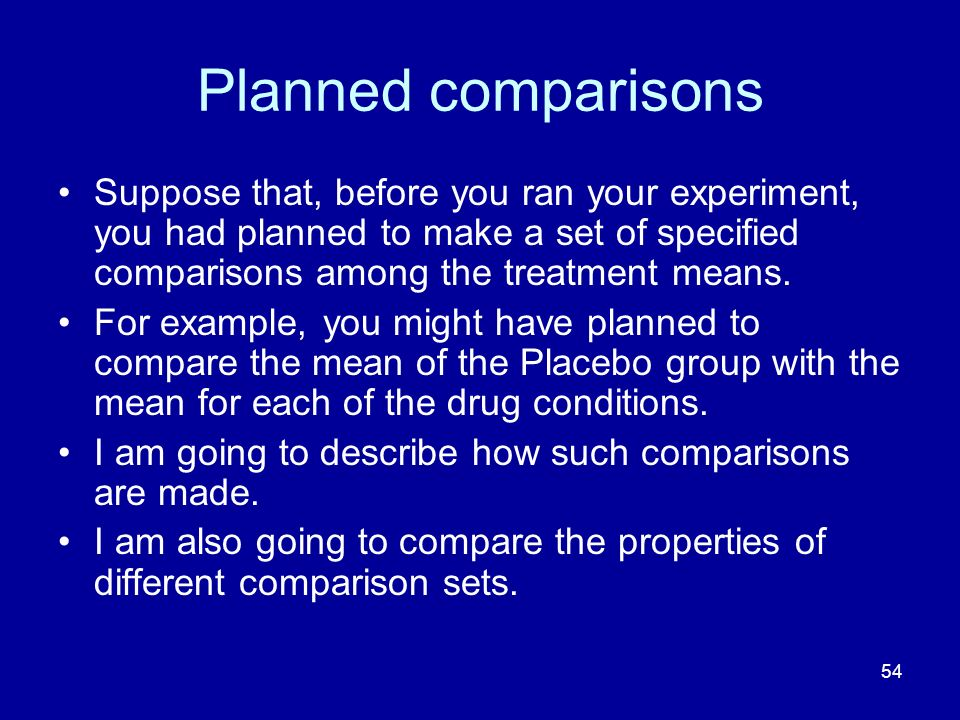 Planned comparisons Suppose that, before you ran your experiment, you had planned to make a set of specified comparisons among the treatment means.