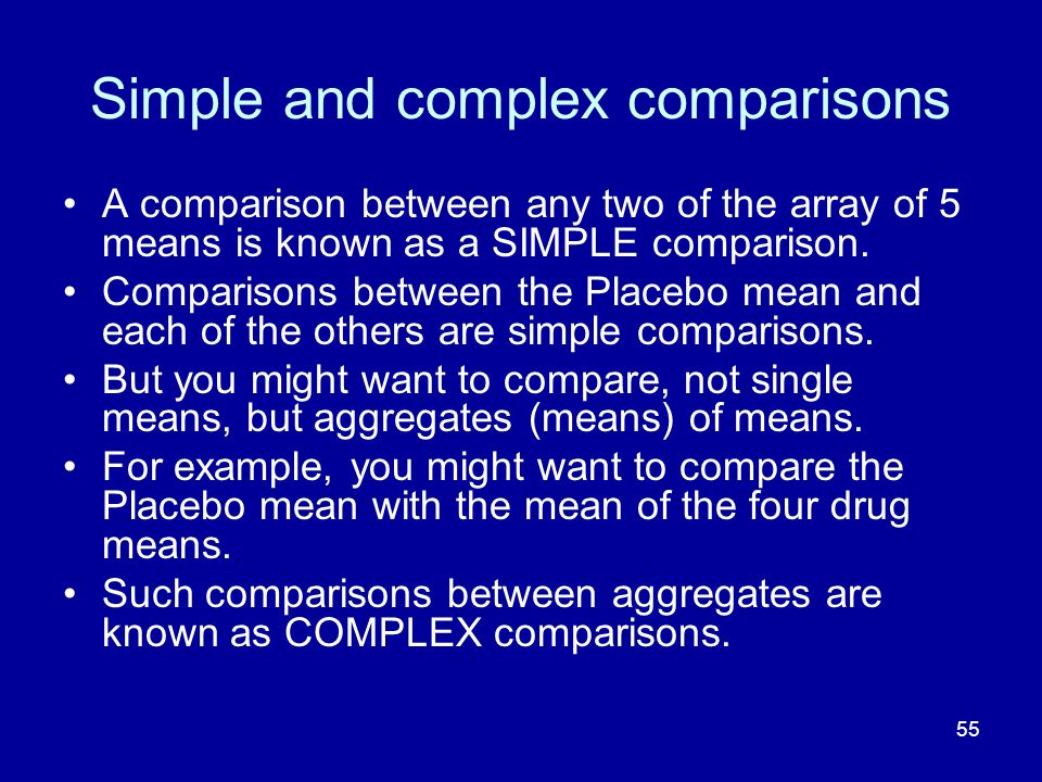 Simple and complex comparisons