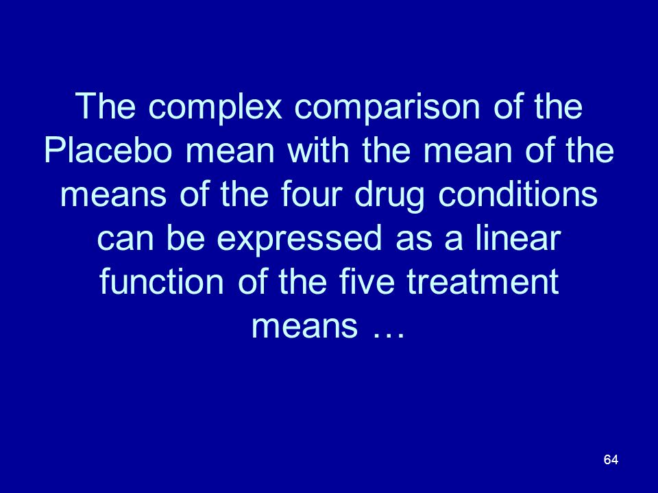 The complex comparison of the Placebo mean with the mean of the means of the four drug conditions can be expressed as a linear function of the five treatment means …