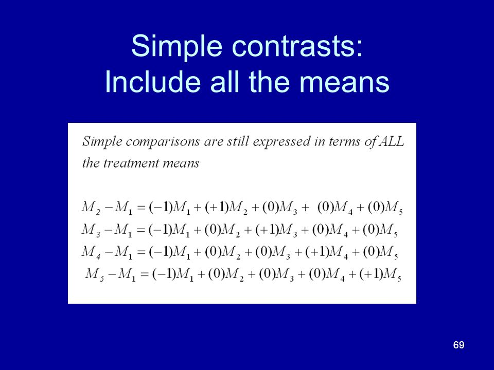 Simple contrasts: Include all the means