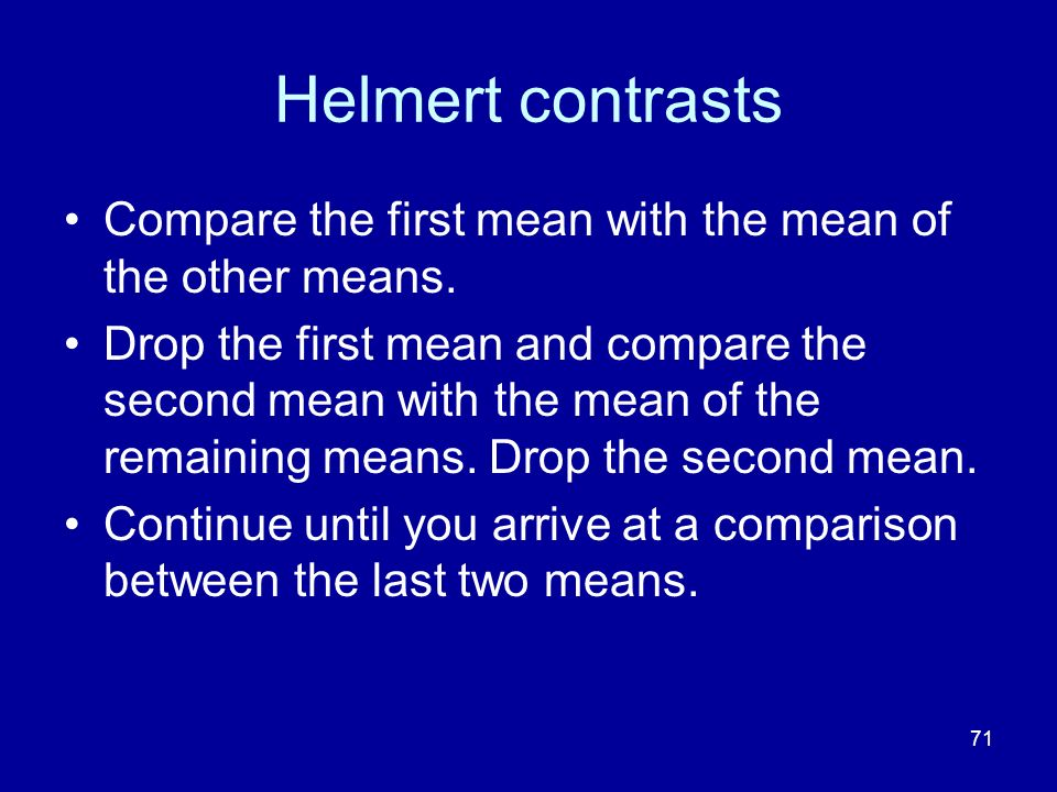 Helmert contrasts Compare the first mean with the mean of the other means.