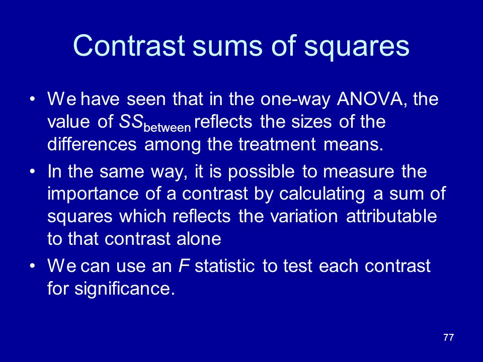 Contrast sums of squares