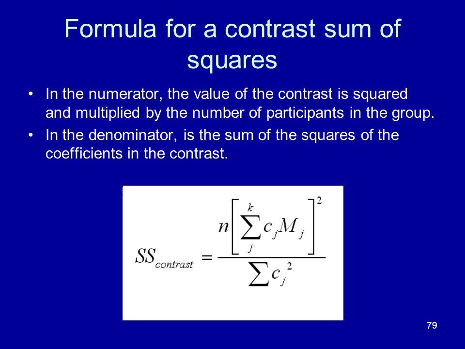 Formula for a contrast sum of squares