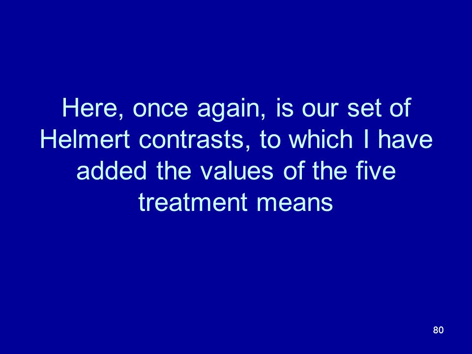 Here, once again, is our set of Helmert contrasts, to which I have added the values of the five treatment means
