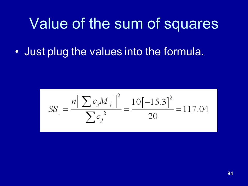 Value of the sum of squares