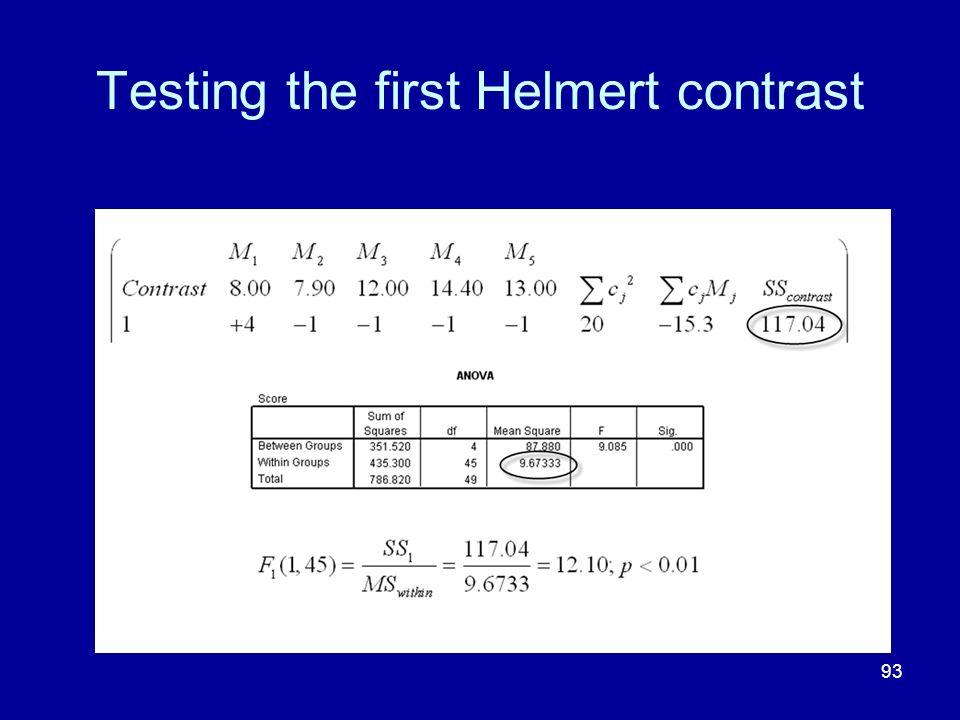 Testing the first Helmert contrast