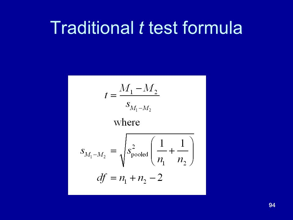 Traditional t test formula