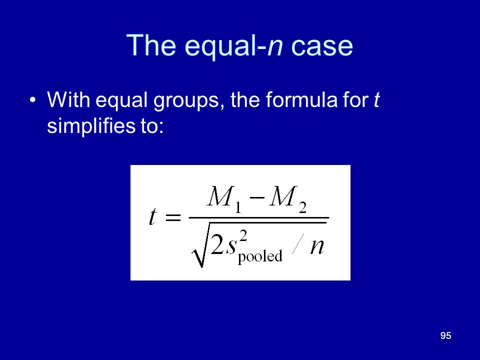 The equal-n case With equal groups, the formula for t simplifies to: