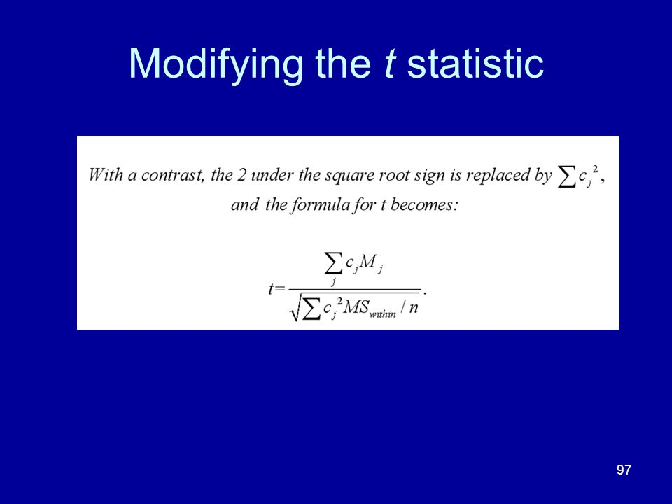 Modifying the t statistic