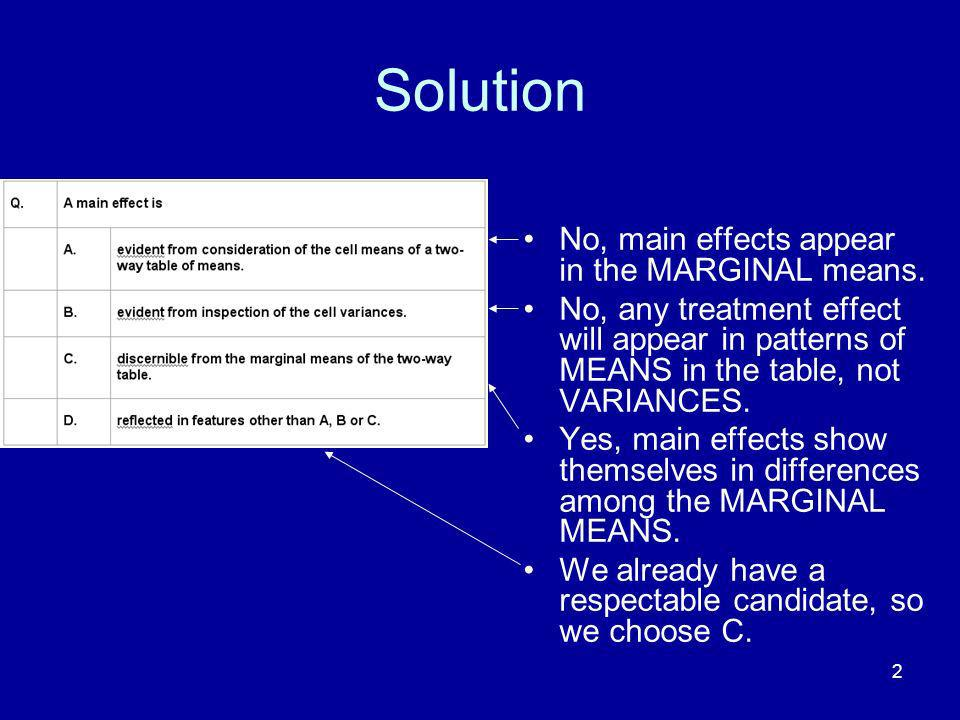 Solution No, main effects appear in the MARGINAL means.