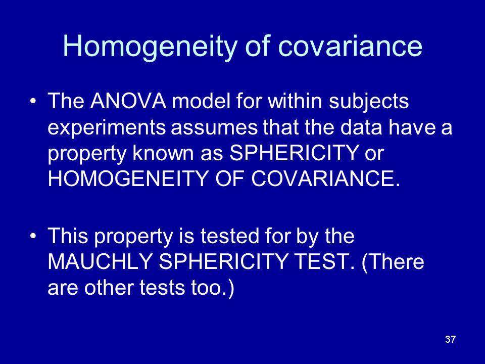 Homogeneity of covariance