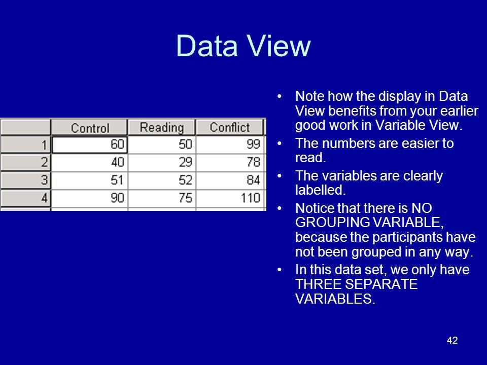 Data View Note how the display in Data View benefits from your earlier good work in Variable View. The numbers are easier to read.