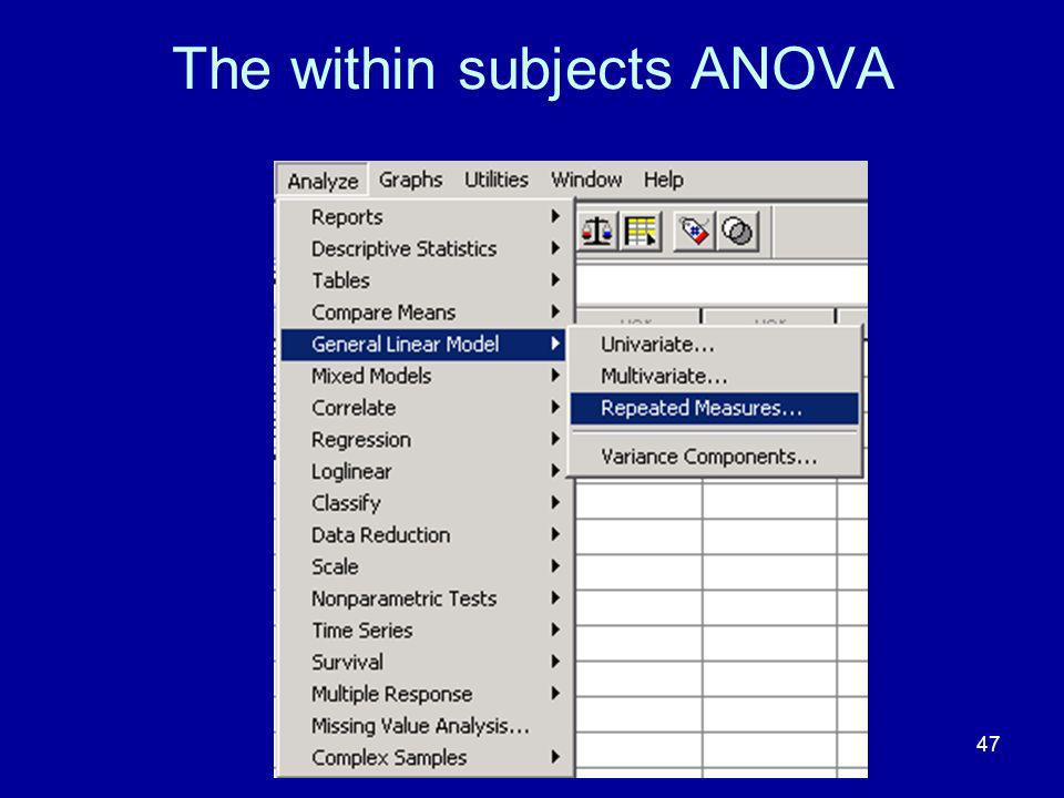 The within subjects ANOVA