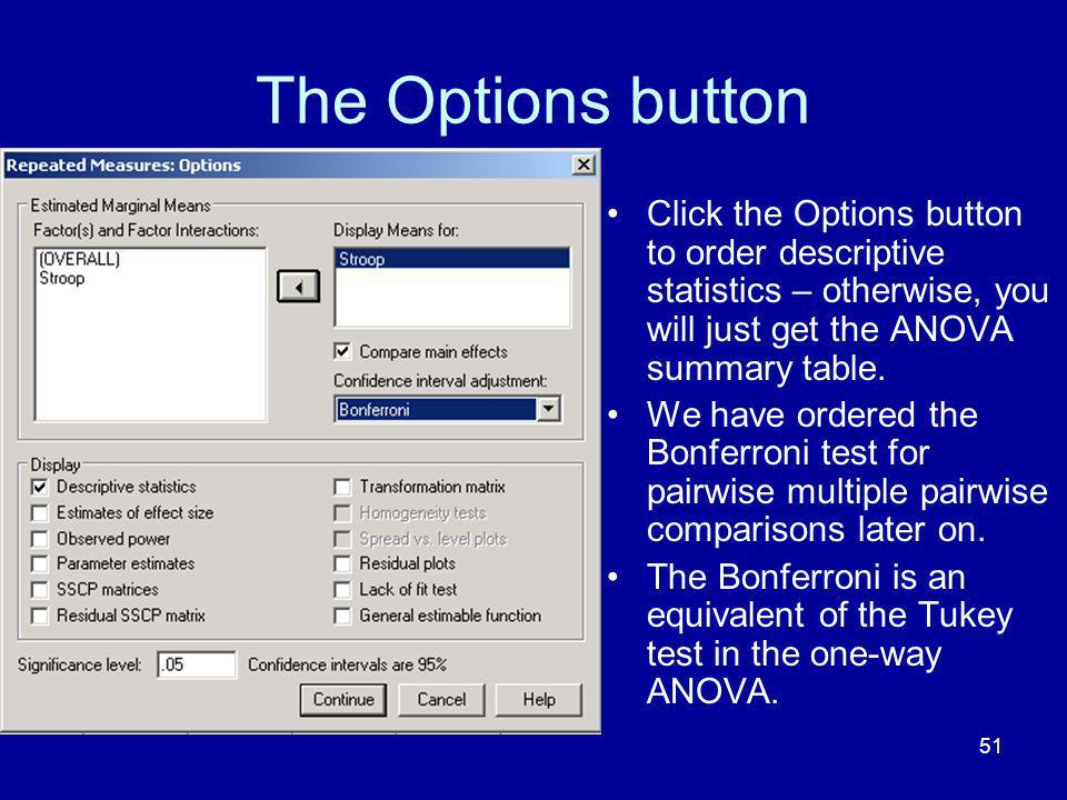 The Options button Click the Options button to order descriptive statistics – otherwise, you will just get the ANOVA summary table.