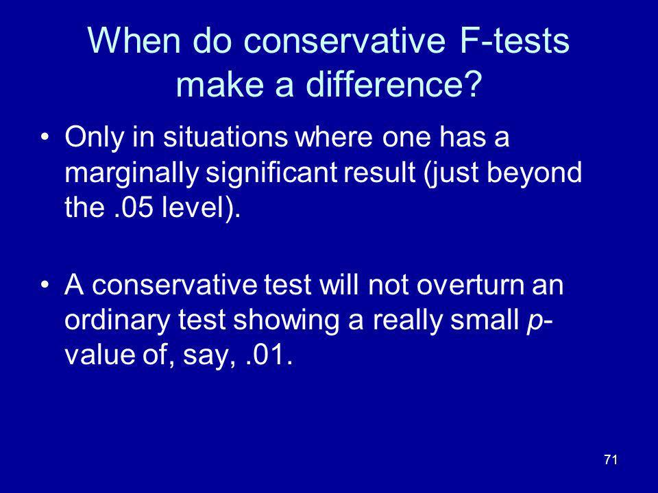 When do conservative F-tests make a difference