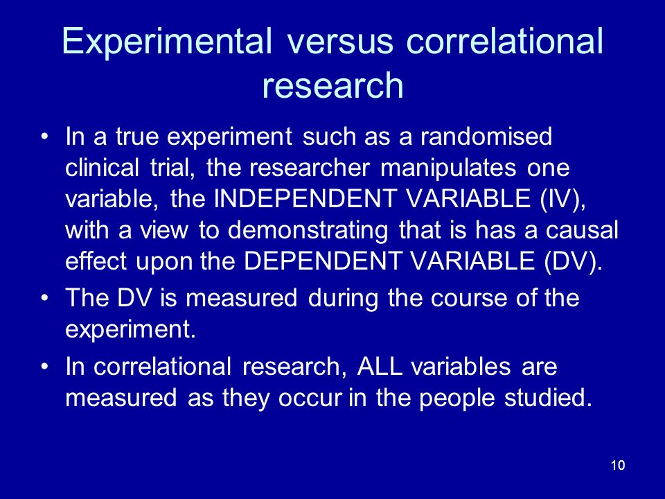 Experimental versus correlational research
