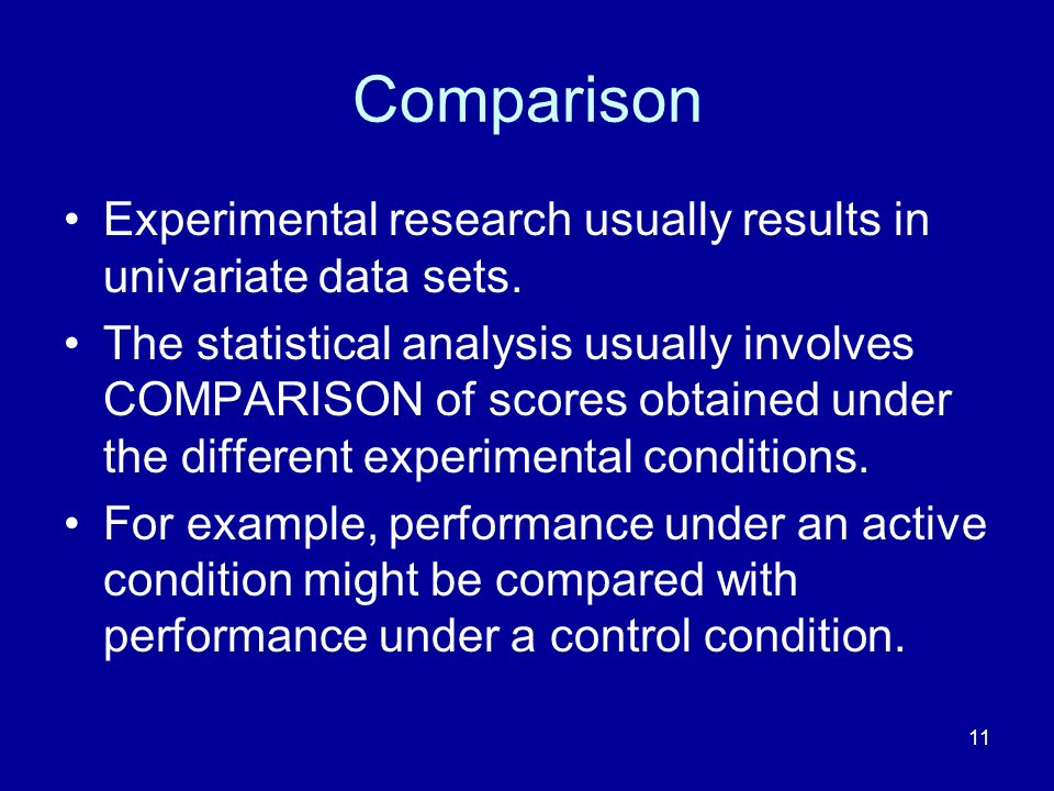 Comparison Experimental research usually results in univariate data sets.