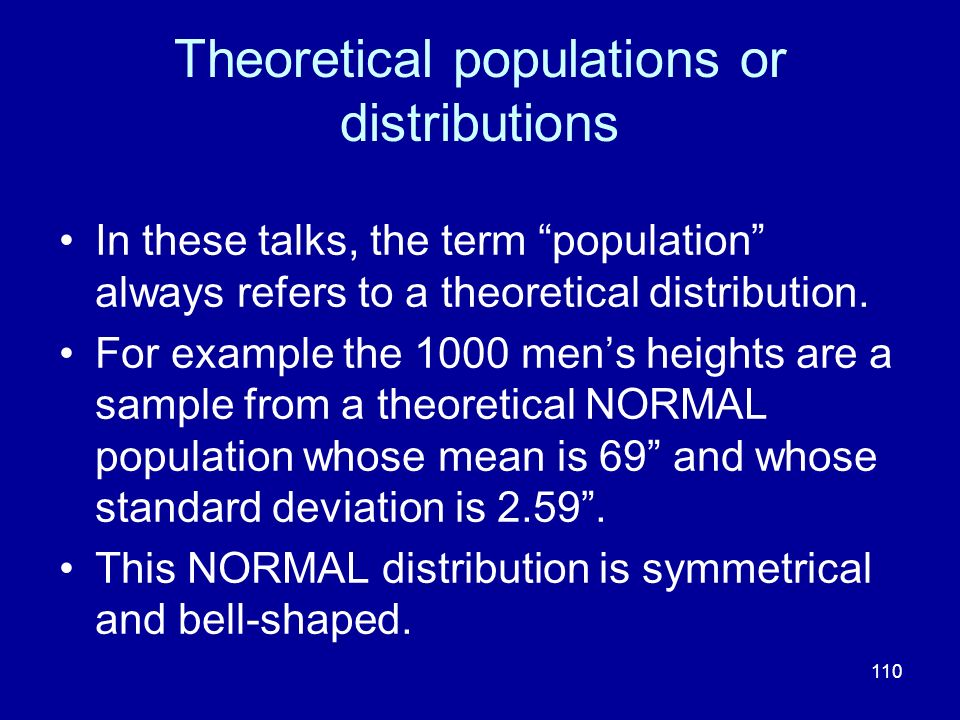 Theoretical populations or distributions