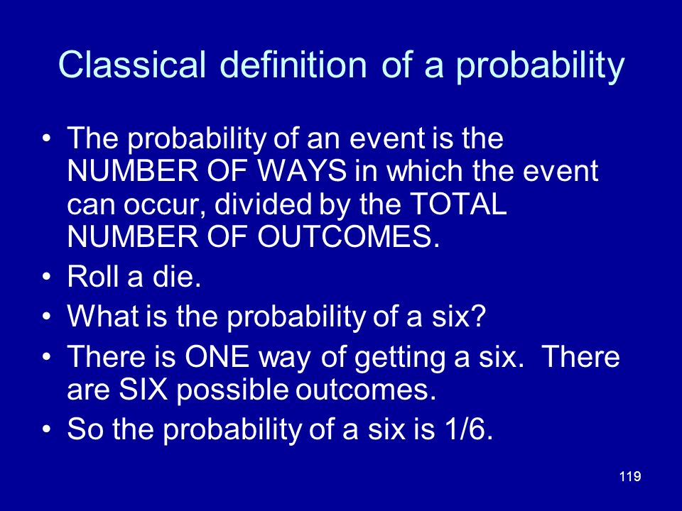 Classical definition of a probability
