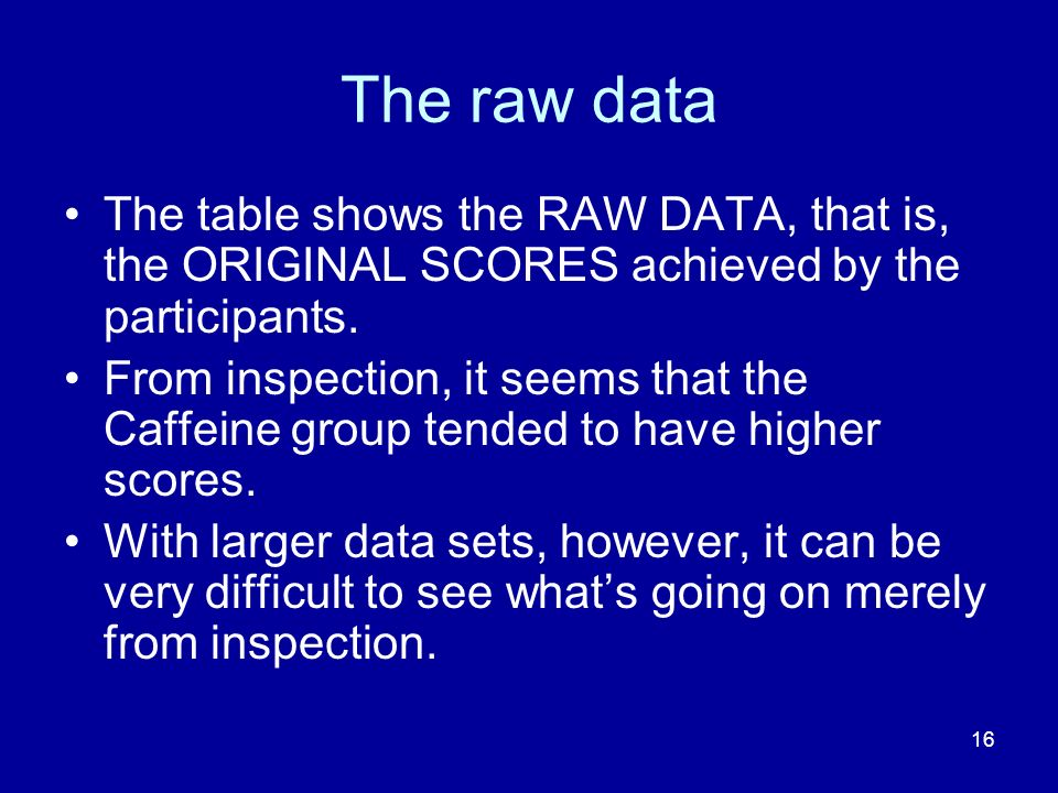 The raw data The table shows the RAW DATA, that is, the ORIGINAL SCORES achieved by the participants.
