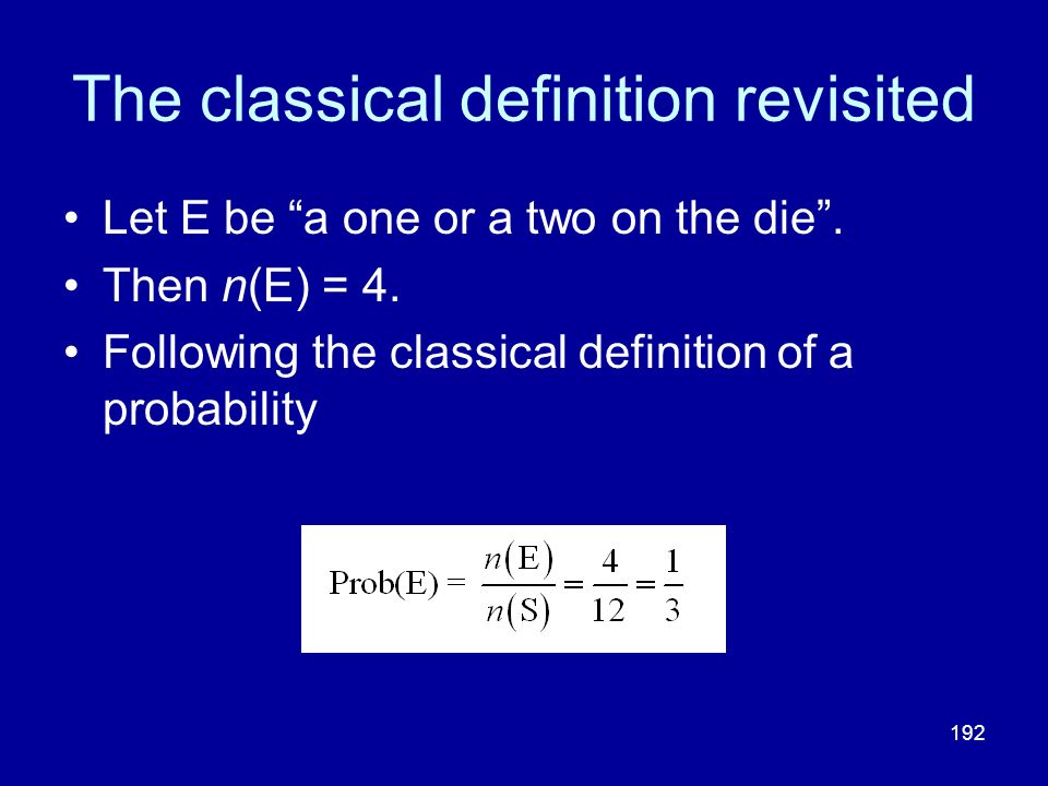 The classical definition revisited