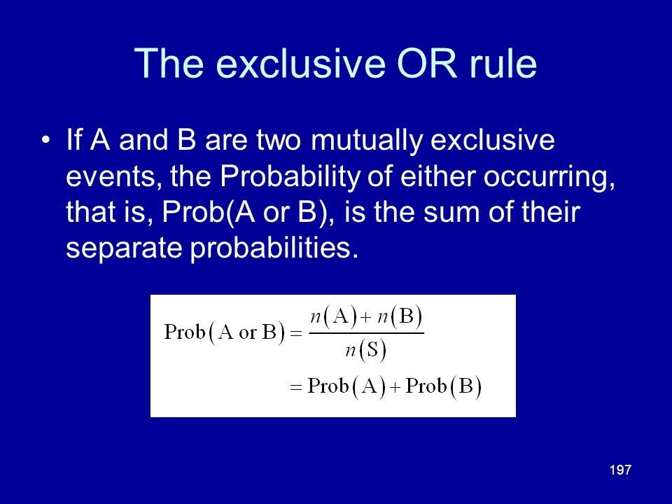 The exclusive OR rule