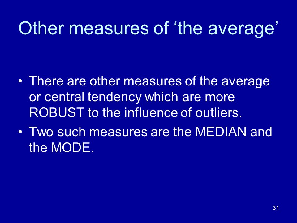 Other measures of 'the average'