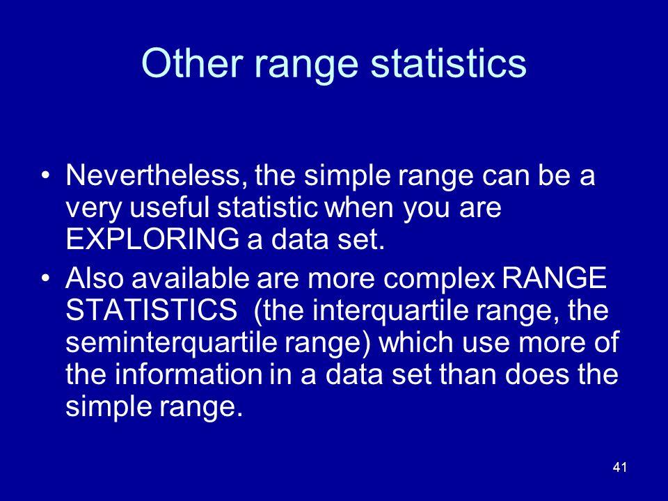 Other range statistics