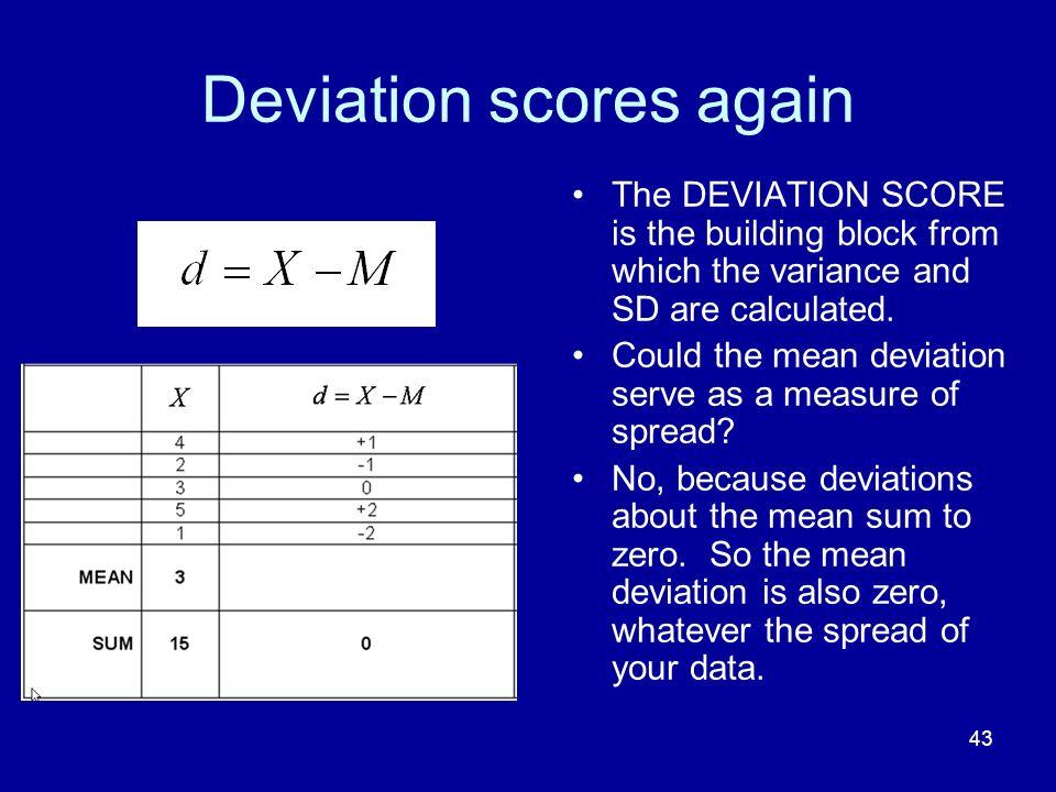 Deviation scores again