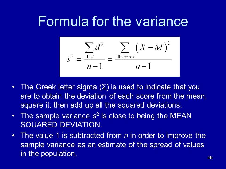 Formula for the variance