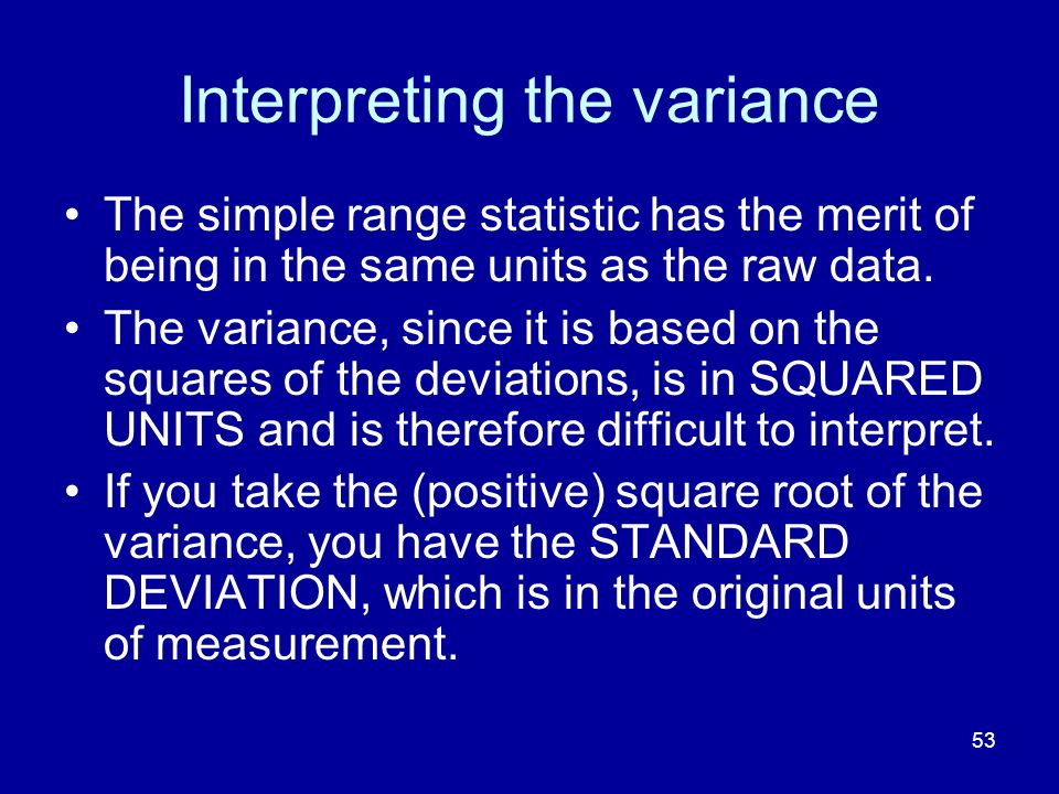 Interpreting the variance