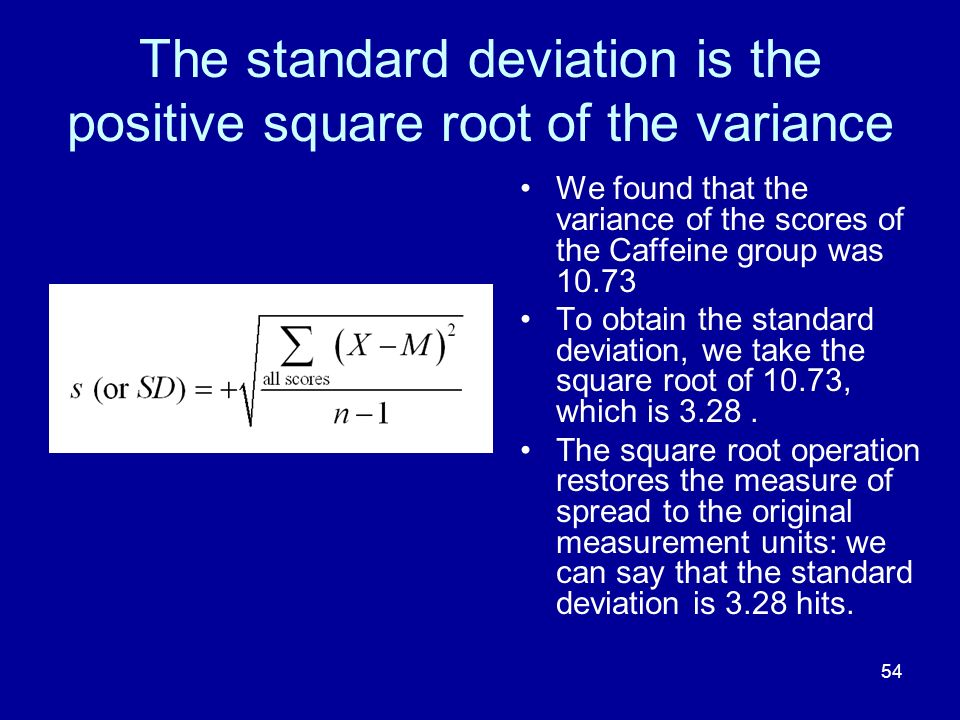 The standard deviation is the positive square root of the variance