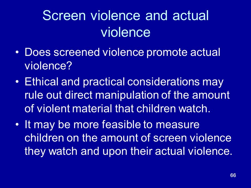 Screen violence and actual violence