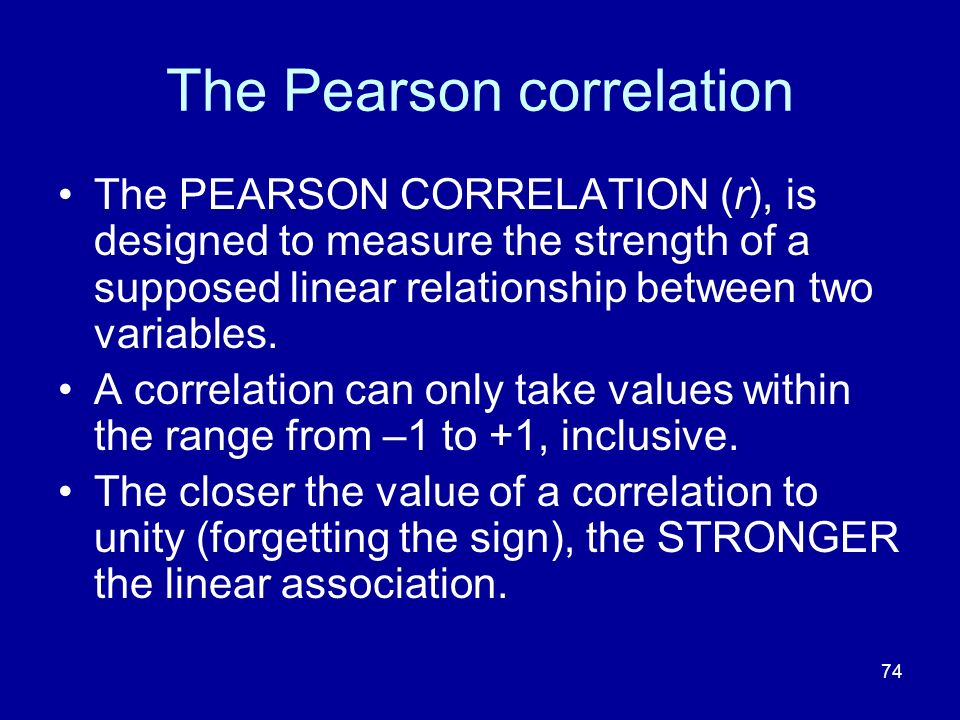 The Pearson correlation