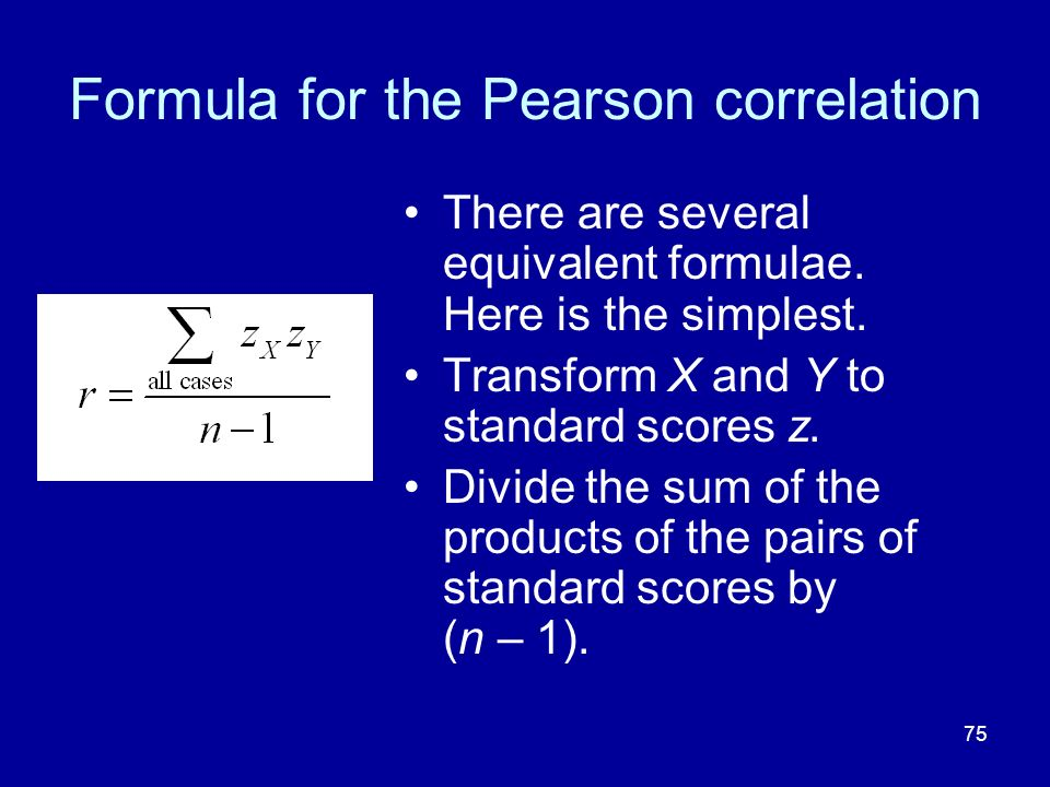 Formula for the Pearson correlation
