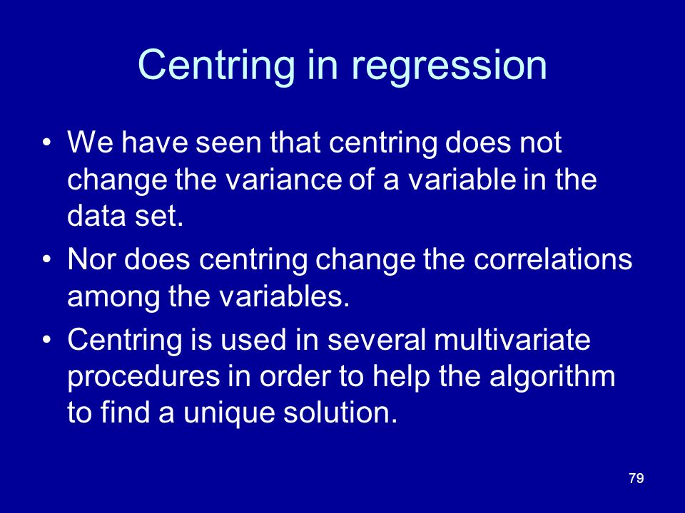 Centring in regression