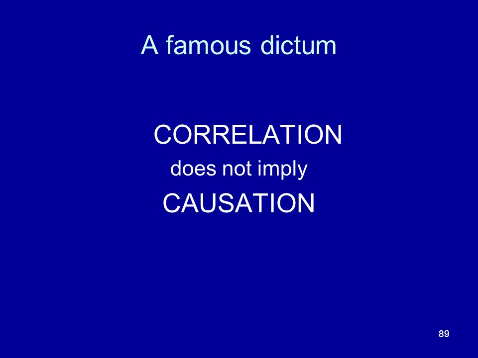 A famous dictum CORRELATION does not imply CAUSATION